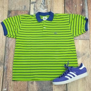 Lacoste Polo Sea Green and Blue Stripes Size 6 Lg